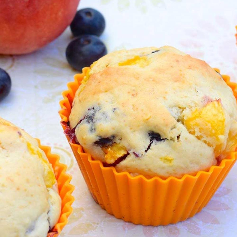 Muffins de arándano y melocotón