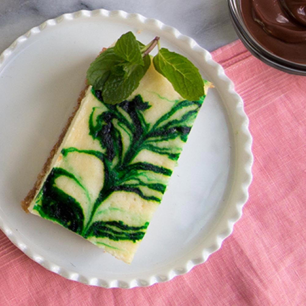 Barras de cheesecake y menta