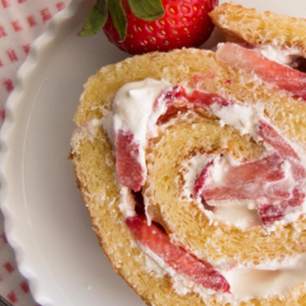 Strawberries and Cream Cake Roll