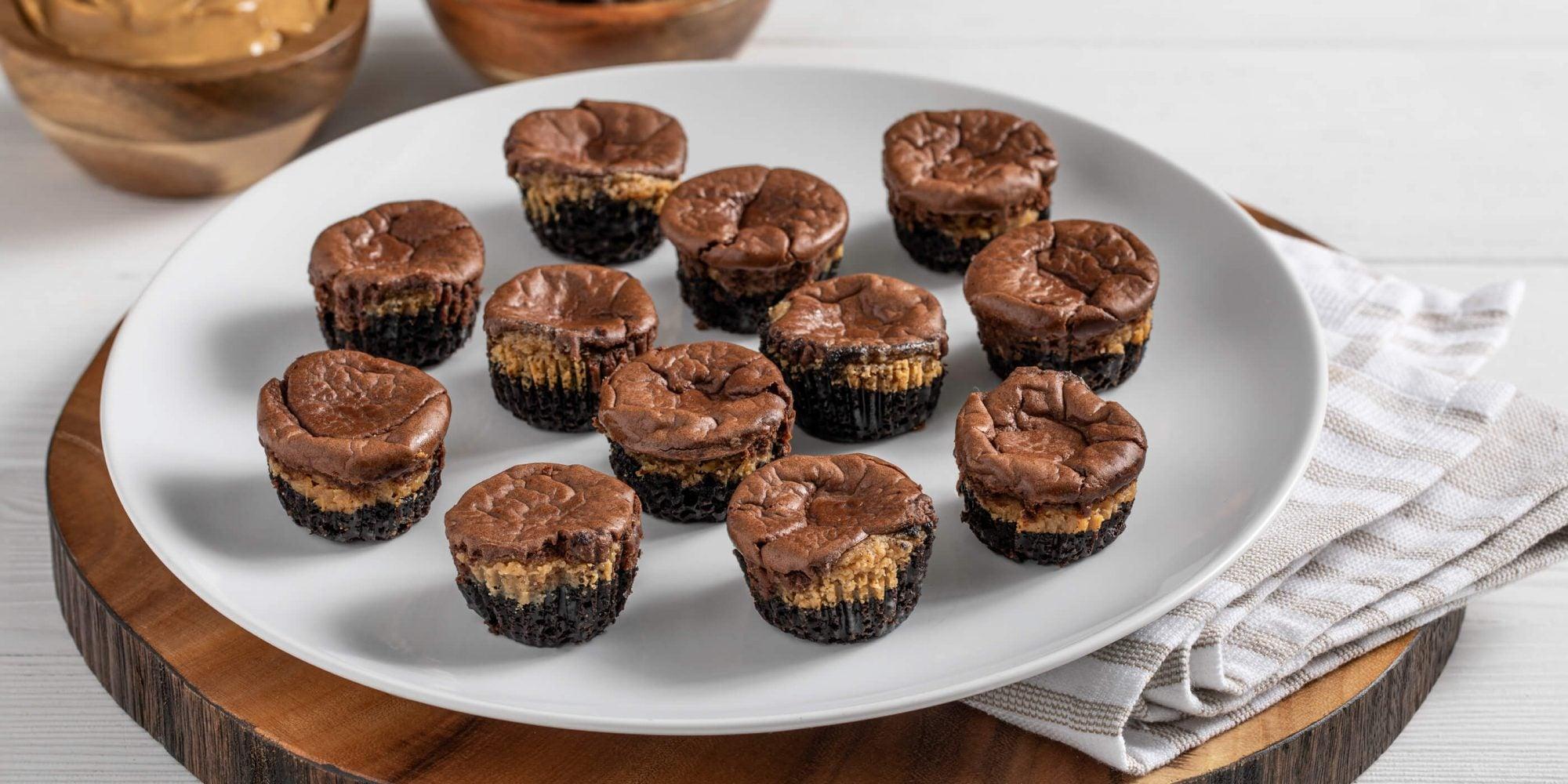 Mini Chocolate Peanut Butter Cheesecakes