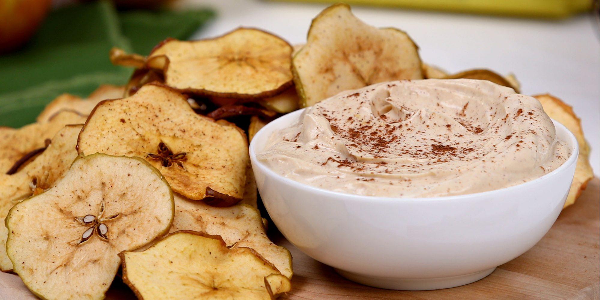 Cinnamon Apple Chips with Peanut Butter Yogurt Dip
