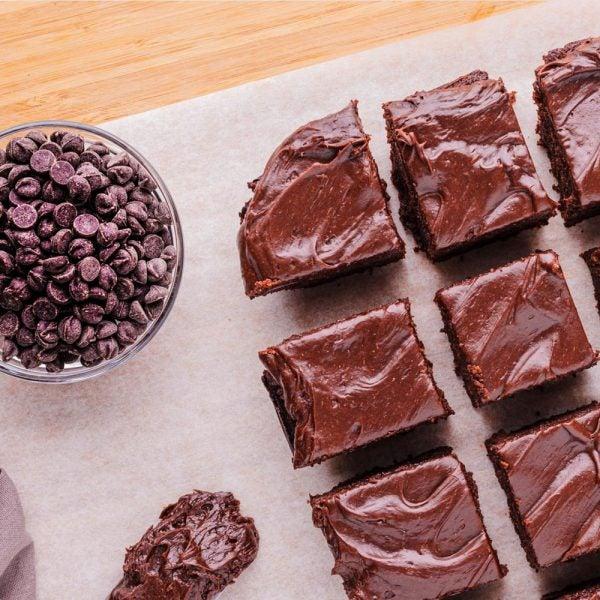 Keto Fudgy Brownie with Chocolate Avocado Frosting