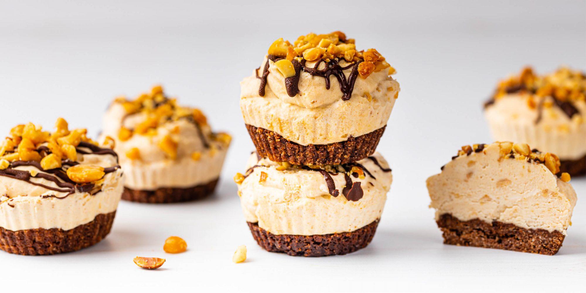 Keto Mini Frozen Peanut Butter Cheesecakes