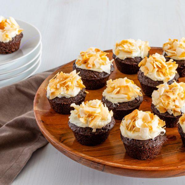 Keto Toasted Coconut Chocolate Cupcakes